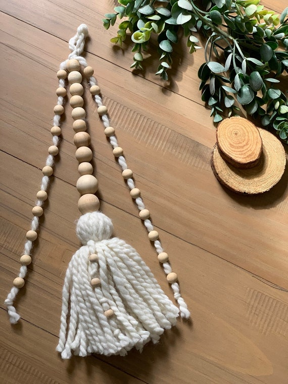 SZETOSY Wood Beads Rainbow Decor with Tassels GOODCHNCEUK 2pcs Rainbow Wooden Beads String 12x25cm Wooden Bead String Wall Hanging for Baby Nursery Room Wall Window Hangings Style#2
