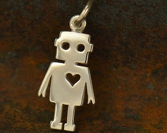 Fashion Jewellery Look Tin Man Wizard Of Oz Gold Plated Over Reals Sterling Silver Charm Pendant