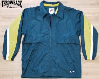 Old clothes long sleeves brand nylon jacket 90s Nike NIKE one point logo multicolored pink other large size used men outer windbreaker | Autumn