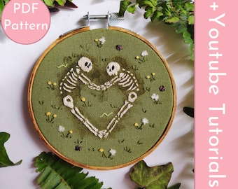 """PDF Pattern """"Together Forever"""" Hand Embroidery Skeleton Lovers Intermediate DIY"""