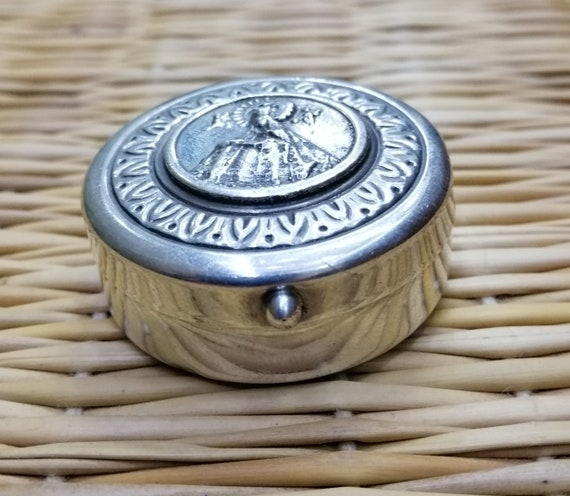 Sterling silver coin box with blue lining