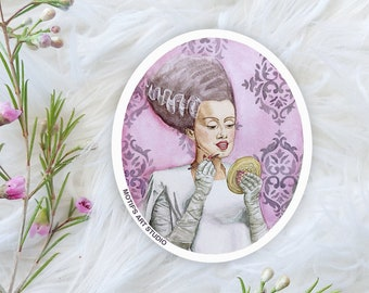 Bride of Frankenstein Sticker, Watercolor Painting, Vintage Pin Up Style