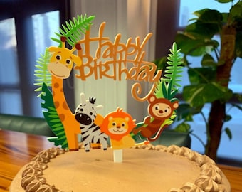 Acrylic Jungle Animals Cake Topper Safari Theme Birthday Sign Zoo Party Decor Baby Animal
