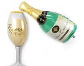 100cm 39inch Champagne Bottle Wine Glass Super Shape Helium Foil Balloon Engagement Wedding Retirements Bridal Shower Bachelorette Party