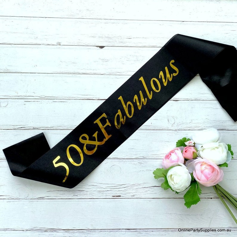 50 /& FABULOUS Satin Sashes 50th Birthday Party Costume Accessory