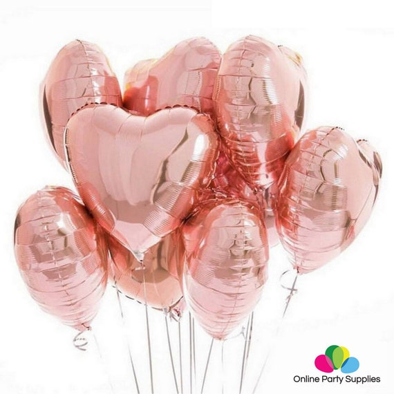 "Wedding Valentines Day 18/""Rose Gold Heart Foil Balloon Birthday Baby ShowerUK"