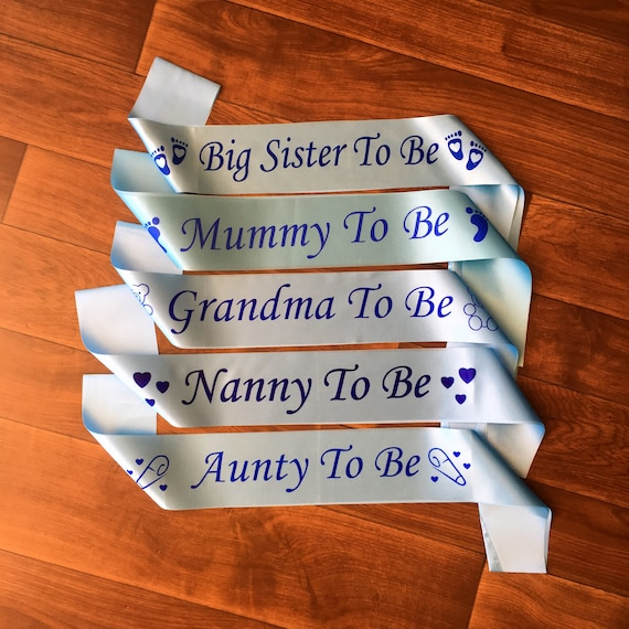 BABY SHOWER MUMMY TO BE SASH BLUE OR PINK