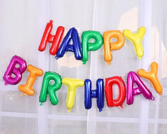 17pcs 16 Inch HAPPY BIRTHDAY Foil Balloon Banner Kit  Rainbow Party  Princess Unicorn Girl/'s Birthday Party  Fantasy Unicorn