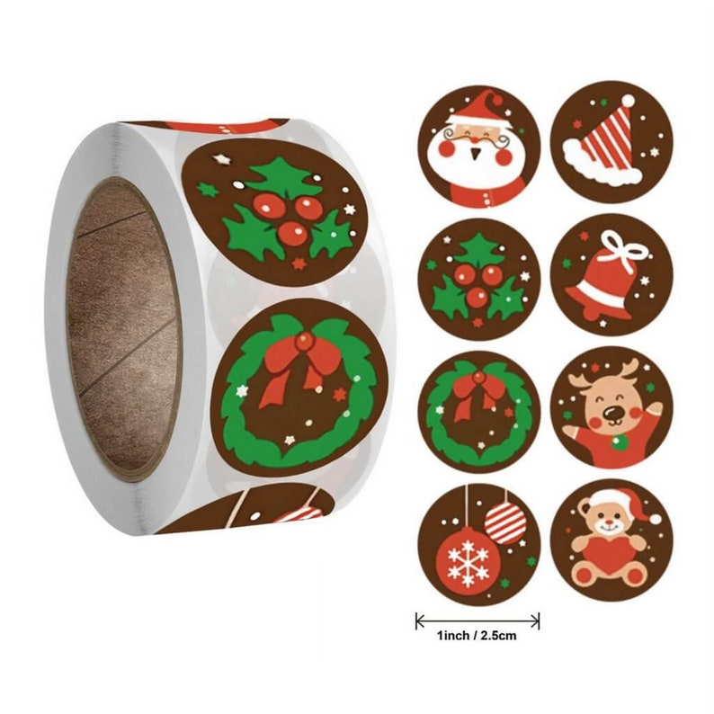 Style P Box Packaging Gift Wrapping Merry Christmas Sticker Present Tag Treat Box Sticker Xmas Label Business Sticker Envelop Seals
