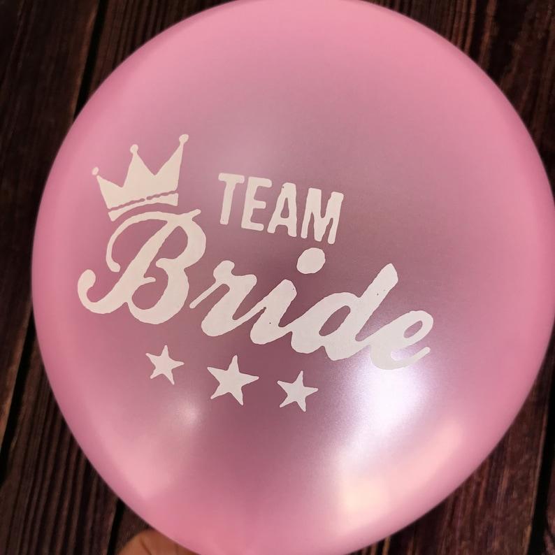10 x 10 Inch Team Bride Pink Latex Balloon  Bachelorette Balloon  Bridal Shower Hen Party  Bachelorette Party Decor Valentines Balloons