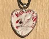 Fluid Art Necklace - Heart black/white/red