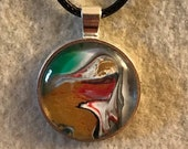 Fluid Art Necklace - Circle gold/white/red/blue