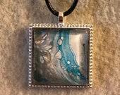 Fluid Art Necklace - Square blue/white/silver