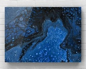 "Fluid Acrylic Pour Painting - ""Deep Blue"""