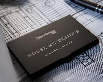 Customizable Laser Engraved Matte Black Metal Business Card Holder, Name, Logo, Initials