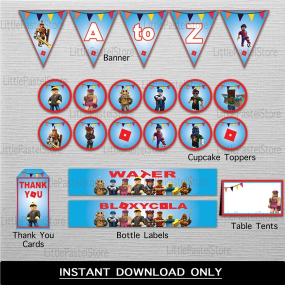 Roblox Printable Party Package, INSTANT DOWNLOAD Roblox Party Supplies,  Roblox Party Decorations
