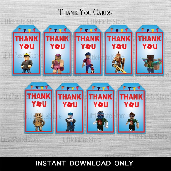 Roblox Thank You Cards Roblox Favors Labels Etsy