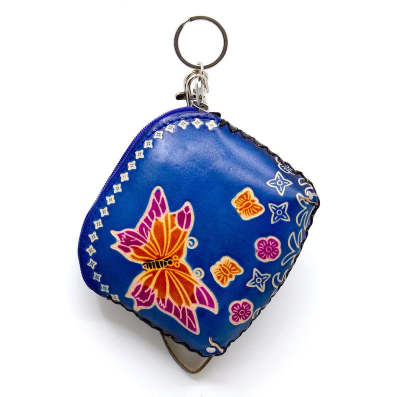 MOREFUN Genuine Leather Coin Purse Card Case Zipper Change Wallet Pouch with Key Chain