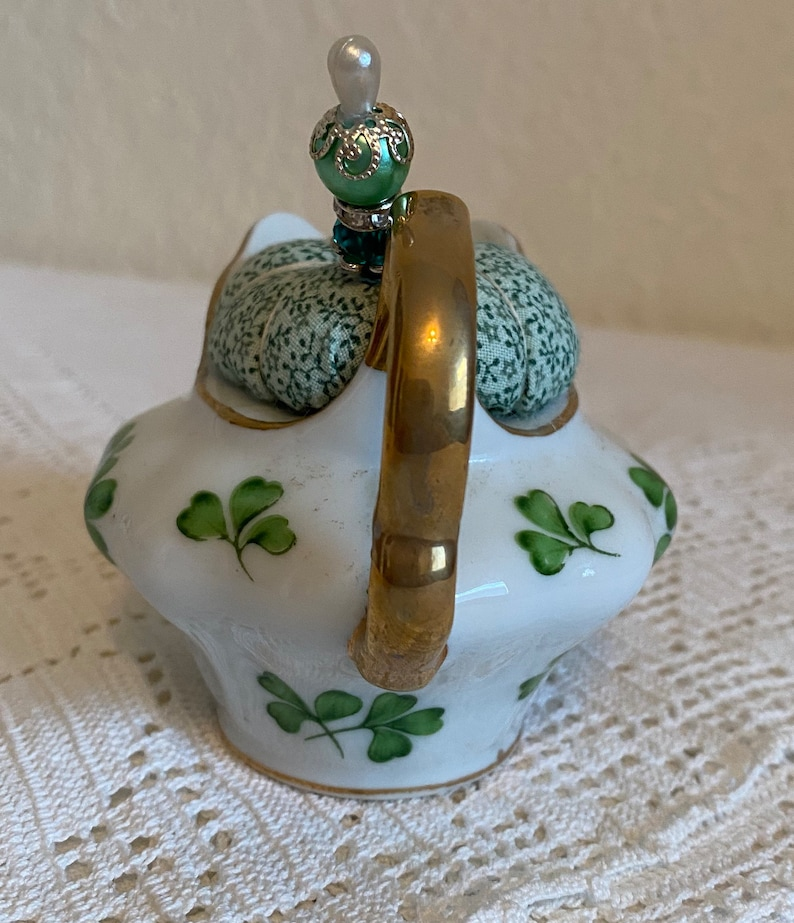 Teapot pincushion with green clovers and coordinating print