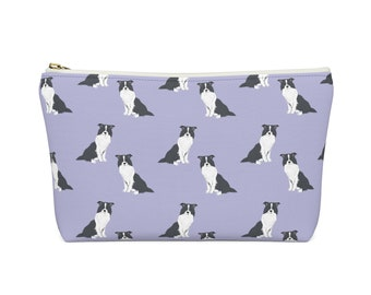 BORDER COLLIE DOG DENIM BLUE FABRIC PURSE WALLET SANDRA COEN ARTIST PRINT