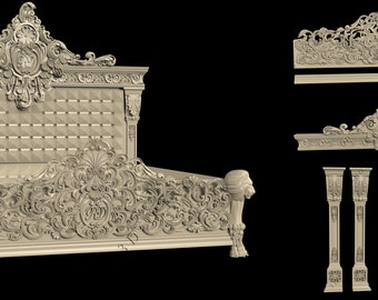 2 3D STL Models Luxury Bed 862 for CNC Router Carving Machine Artcam aspire Cut
