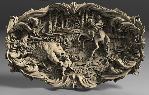 3D STL CNC Model Boar hunting file for CNC Router Carving Machine Printer Relief Artcam Aspire Cut3d