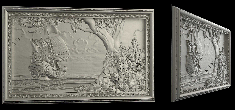 3D STL Models # THE SHIP # for CNC Aspire Artcam 3D Printer 3D MAX Rhino