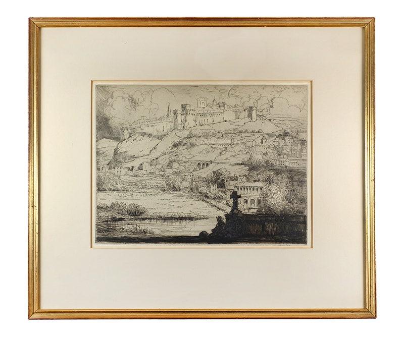 Original LOUIS ORR Antique Etching Signed 1911-1915 Hillside Avignon France Art