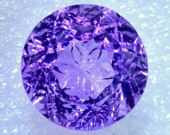 Creative Bottom Flower Cut Natural Amethyst 14 MM Beautiful Purple Flower Refection Precisely Carved For Beautiful Jewelry Making AC-02