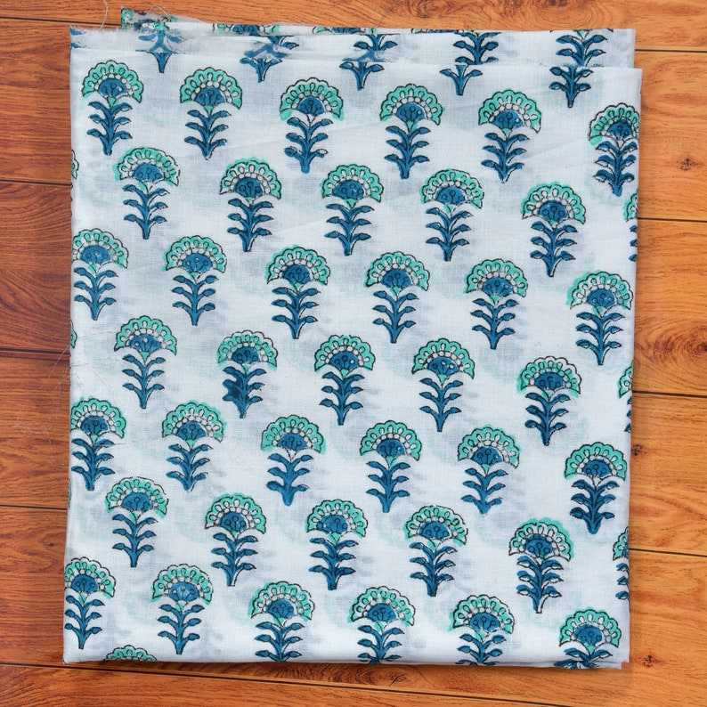 White Hand Printed Vintage Floral Print Cotton Fabric Sewing Material Craft