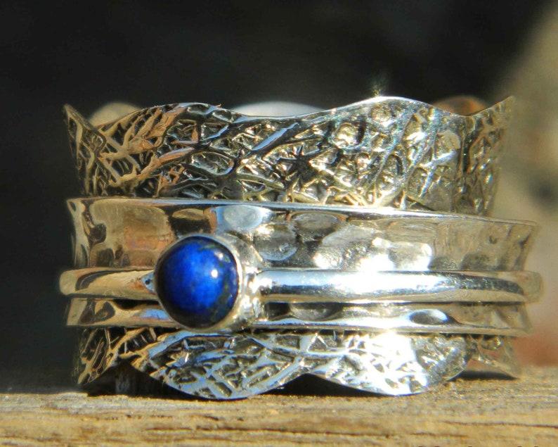 Lapis Lazuli Gemstone Ring Spinner Ring Anxiety Ring Meditation Ring Spinning Ring,925 Sterling Silver Spinner Handmade Jewelry Gift
