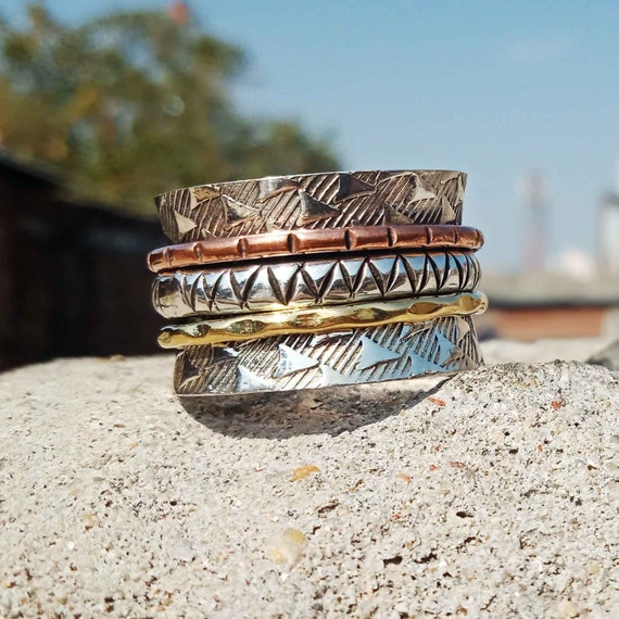 Anxiety Ring Fidget Ring Spinning Ring Christmas Ring Three Tone Ring Handmade Jewelry Meditation Ring Thumb Ring AAA Spinner Ring