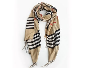 Scarves for Women, Burberry Inspired Shawls, Gifts for Her, Luxury shawl    Burberry style, Beige with Red strip Burberry inspired Scarf, aa42c9ff73a