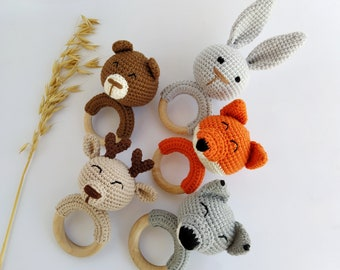 Wolf Deer Bunny Bear Fox crochet rattle for Expecting mom gift Woodland animal baby toy Gift for forest baby shower