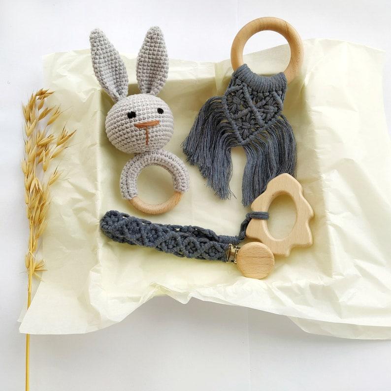 Neutral pregnancy gift box Bunny Rabbit rattle Macrame Pacifier Clip Easter Unisex baby basket