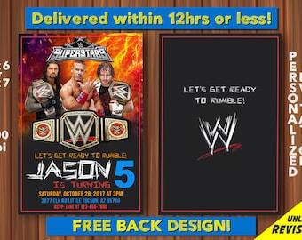 WRESTLING Invitation John Cena As Your Child Wrestle Mania Invite Birthday WWE Digital File Printable