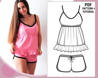 Women s pajamas pattern   Sleepwear pattern   Sewing pattern for women    PDF sewing pattern pajamas   Pajamas pattern for woman 8a732535d