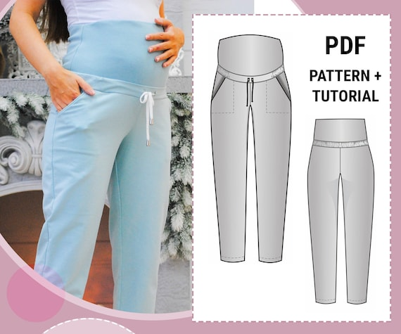 Women/'s Basic Knit High Waist Pants  Printable Sewing Pattern PDF for Women  Sizes 36-48 EU  Beginners Sewing Projects