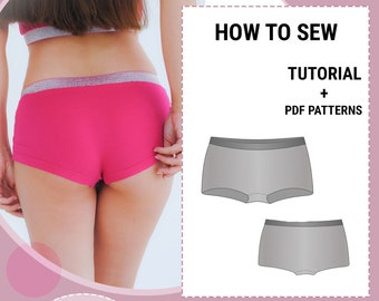 Women's Boyshort Hipster Panties  / Underwear Sewing Pattern and Tutorial / Sizes 36-48 EU / Easy Sewing Projects