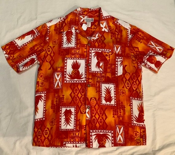 Vintage Hawaii shirt orange pineapple