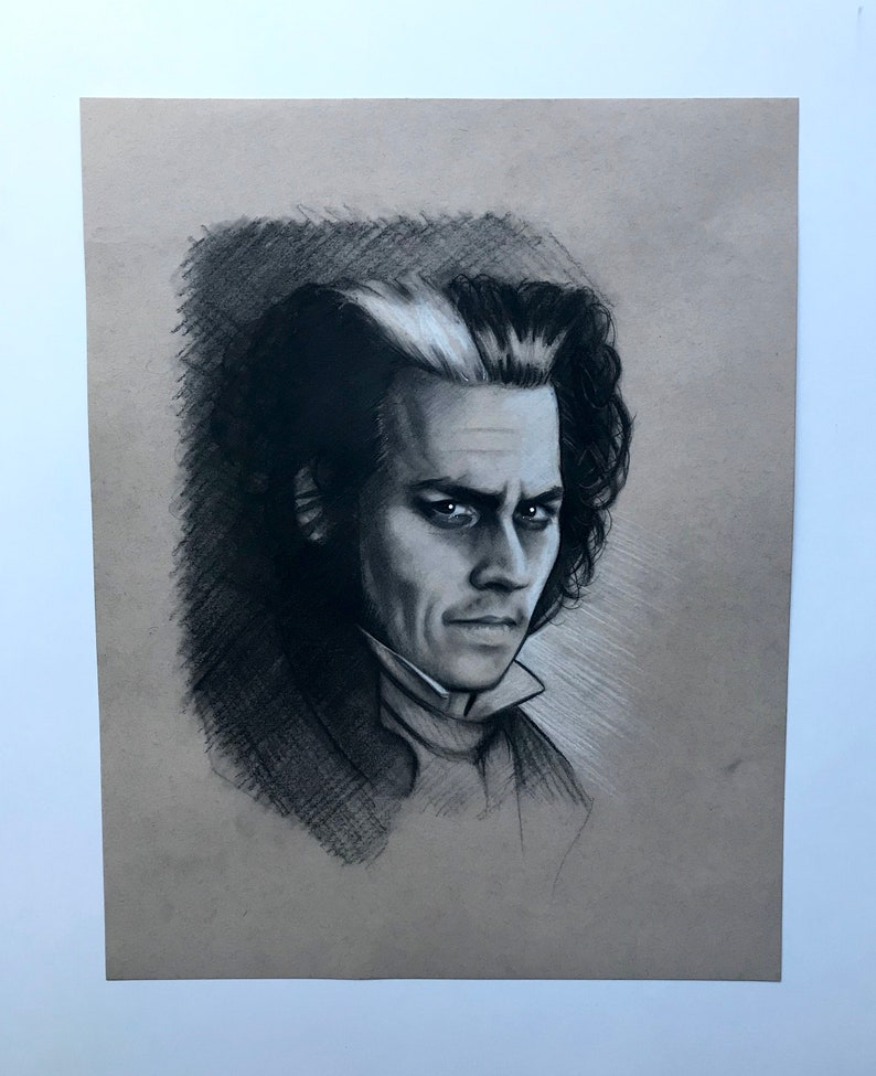 5a5f172450b4a Johnny Depp Sweeney Todd Original Charcoal Drawing Fine Art | Etsy