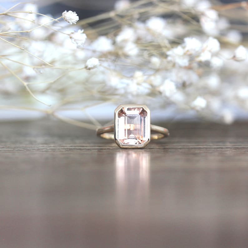 0c700e9ddf124 Emerald Cut VS Natural Pink Morganite Engagement Ring 5*7 mm Solid 14k  Yellow Gold Ring Plain Ring Band Anniversary Ring Promise Ring Bridal
