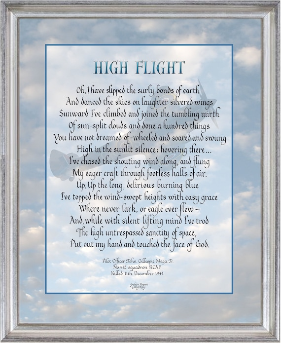 High Flight Poem By John Gillespie Magee Calligraphy Inspirational Pilot Gift Airforce Gift Aviator Quote