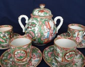 1850-1899 Qing Dynasty Famille Rose 4 small cups with saucers and a sugar bowl