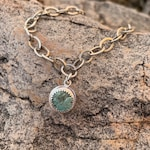 Sterling  silver handmade chain with double side turquoise charm 8inch