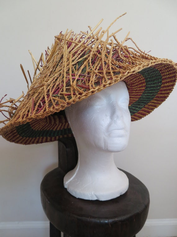 Unique Rare Woven African Straw Grass Hat