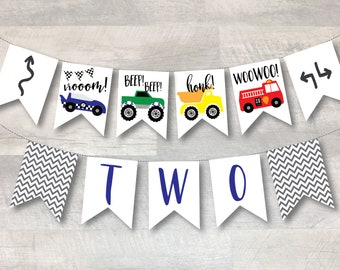 Cars and Trucks Birthday Banner - TWO   Digital File   Printable