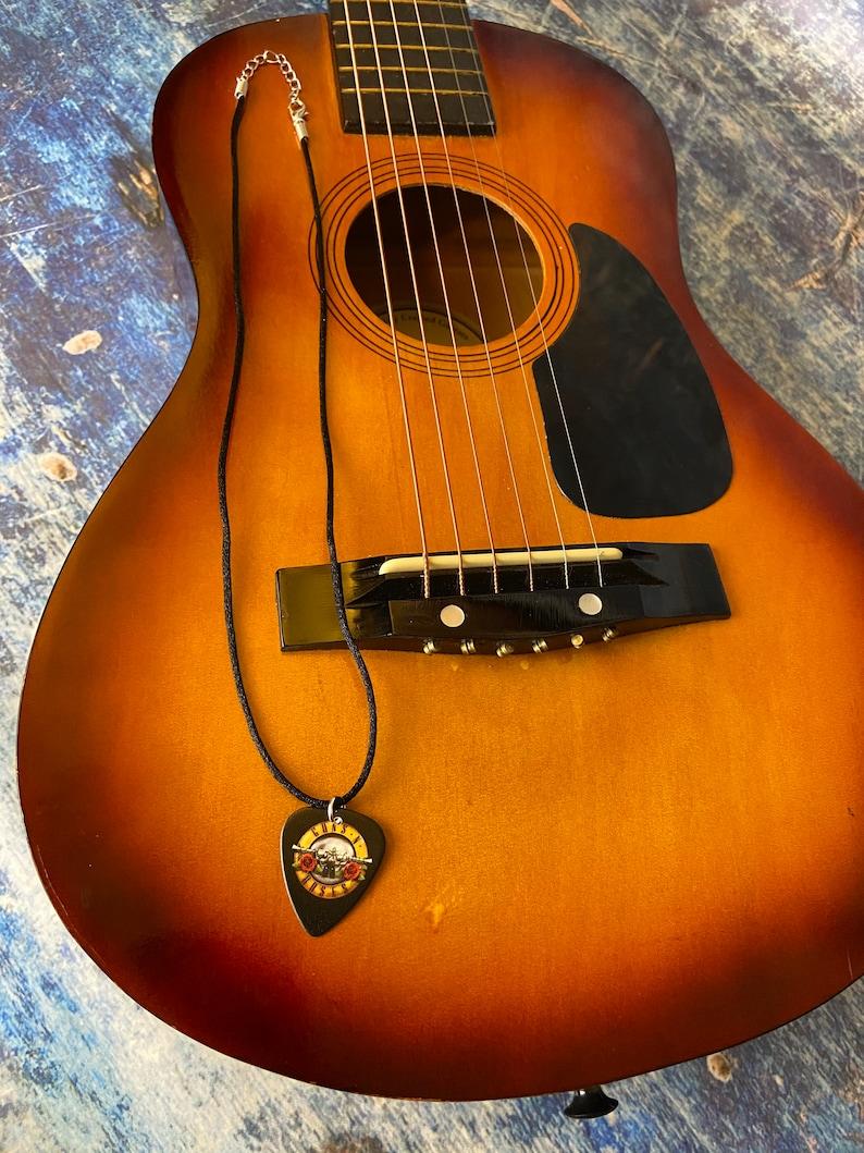 Guns N Roses Music Lover Rock N Roll Guitar Pick Necklace Men\u2019s Necklace Favorite Band Unisex