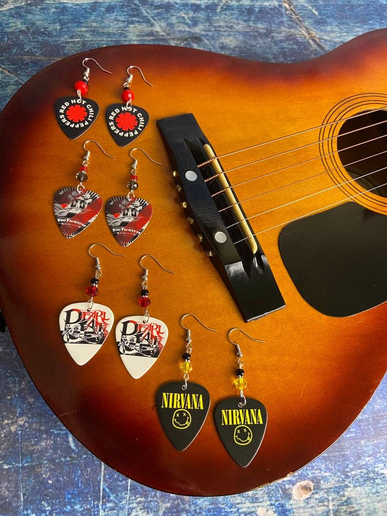 Girls Rock Guitar Pick Earrings Groupie Favorite Band Music Lover Foo Fighters Rock Goddess