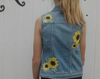 c64379ce13 Hand Painted Sunflowers Upcycled Mossimo Jean Vest Size Women s Small